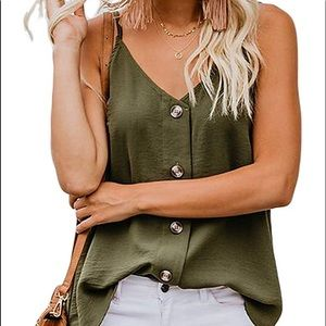 Woman button down v neck tank top shirts